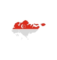 Singapore flag map icon flat style vector