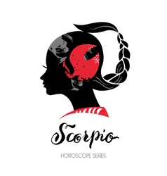 Scorpio zodiac sign beautiful girl silhouette vector