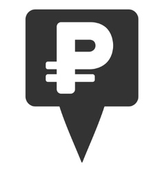 Rouble map pointer flat icon vector
