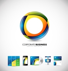 Corporate business circle 3d logo design vector