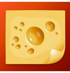 Appetizing slice of cheese image vector