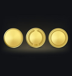 Golden award medals set on black background vector
