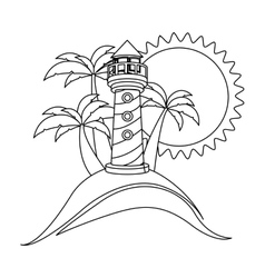 Monochrome contour with beach and headlight vector
