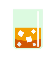 Glass of scotch whiskey and ice icon flat style vector