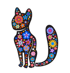 Silhouette of cat with naive style colorful vector