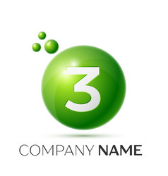 number three splash green dots and bubbles number vector image