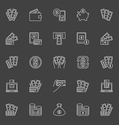 Money and payment line icons vector