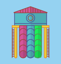 High slide with house and long colorful tubes vector