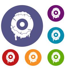 Scary eyeball icons set vector
