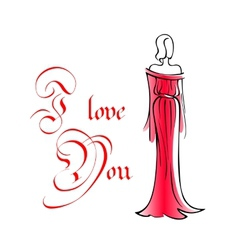 Woman in long red dress vector