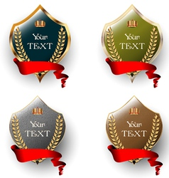Royal labels with red ribbons vector image