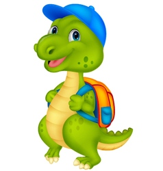 Cute dinosaur with backpack vector