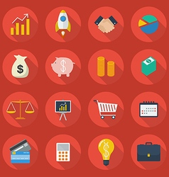 Business flat icon set vector