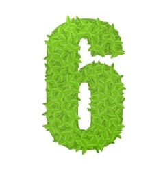 Number 6 consisting of green leaves vector image