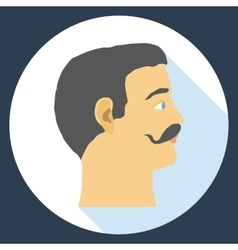 Flat design icon head of a man with a mustache vector