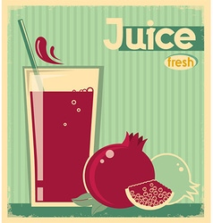 Red pomegranate juice on card background vintage vector