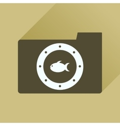 Flat icon with long shadow folder fish vector