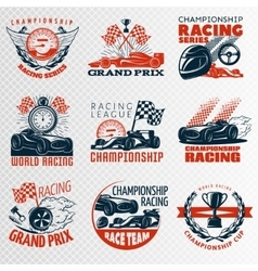 Racing emblem set in color vector