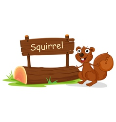 A squirrel beside a wooden signage vector image vector image