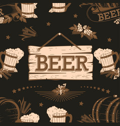 Beer vintage seamless pattern vector