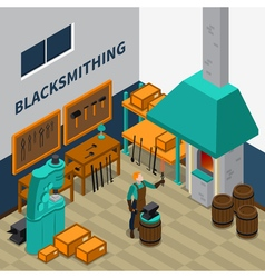 Blacksmith shop facility indoor isometric poster vector
