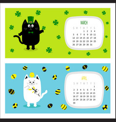 Cat horizontal calendar 2017 cute funny cartoon vector