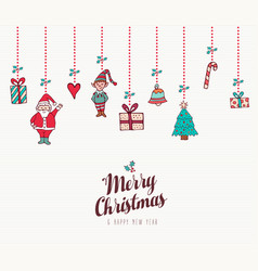 christmas and new year holiday ornament card vector image vector image