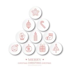 Christmas icons set holiday objects collection vector