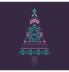Christmas Tree - Tribal Vintage Aztec Theme vector image vector image