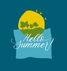 concept summer card with sea sun and green tree vector image