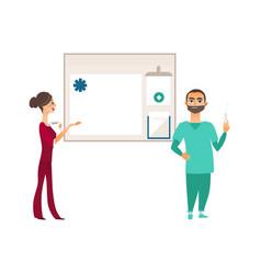 Flat doctor with syringe nurse info board vector