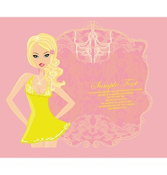 Glamor girl dancing poster card vector