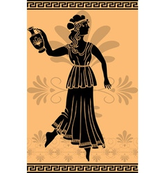 Greek woman stencil on orange fone vector image vector image
