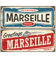 Greetings from marseille france vector