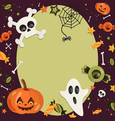 halloween cartoon art in flat style green vector image