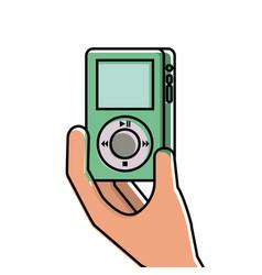 Hand holding mp player gadget display modern vector