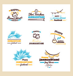 Happy janmashtami badges set vector