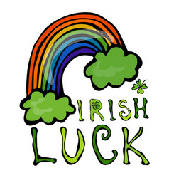 Irish luck logo with rainbow and clover vector