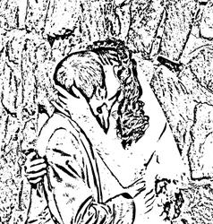 kiss and hug the bride and groom vector image