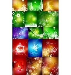 Mega set of shiny Christmas cards vector image vector image