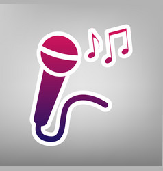 Microphone sign with music notes purple vector