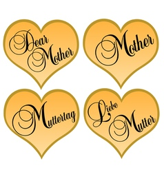 Mothers day golden hearts vector