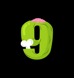 Number 9 zombie monster font nine bones and vector