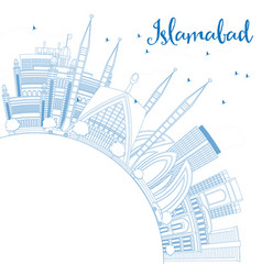 Outline islamabad skyline with blue buildings and vector