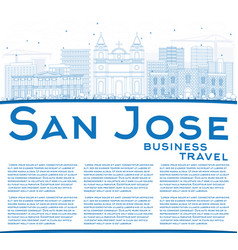 outline san jose skyline with blue buildings vector image
