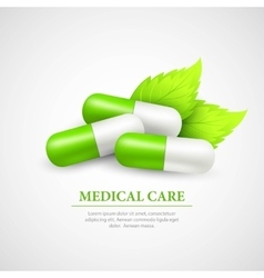 Pill Wit Leaf vector image