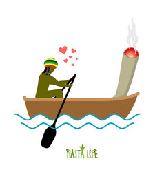 Rasta life rastaman and joint or spliff boating vector