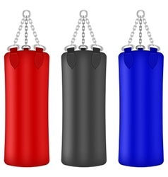 Set of colorful boxing bags vector