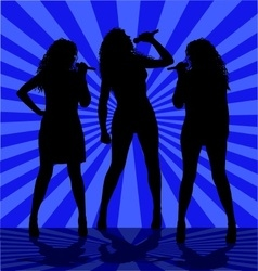 Woman singers on the blue vector image