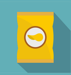Yellow pouch of potato chips icon flat style vector
